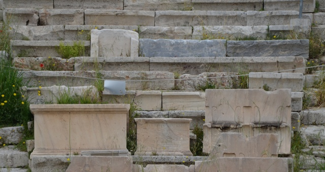 Statue base of Hadrian set in the Theatre of Dionysus, the epigraphic inscription commemorates Hadrian's election as archon of Athens by the Athenians, The Theater of Dionysus on the South Slope of the Acropolis © Carole Raddato