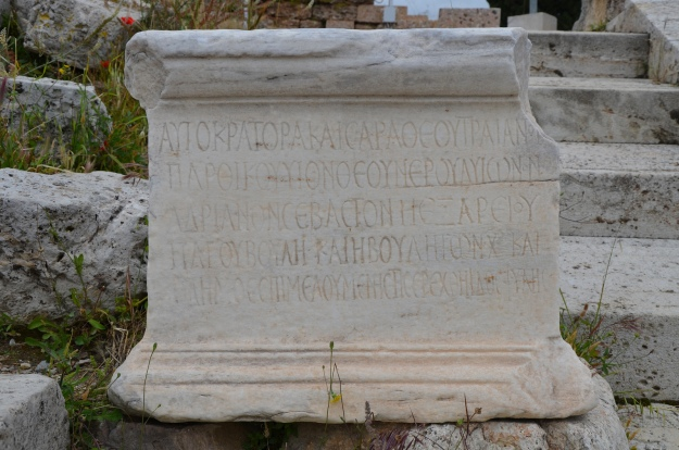 Epigraphic inscription commemorating Hadrian's election as archon of Athens by the Athenians. The inscription was set up in the Theatre of Dionysus in Athens © Carole Raddato