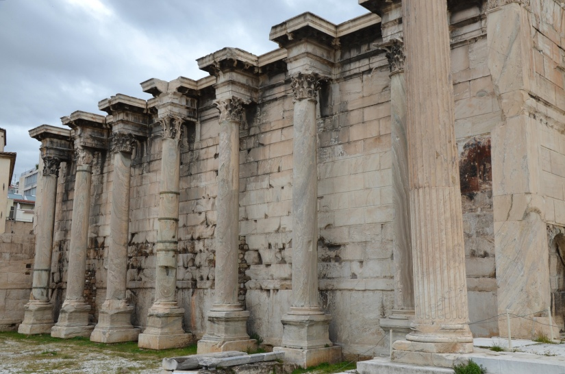 The west facade in Pentelic marble with columns of Karystos marble of the Library of Hadrian, Athens © Carole Raddato