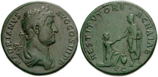 "Hadrian, with ""RESTITVTORI ACHAIAE"" on the reverse, celebrating his spending in Achaia (Greece)"