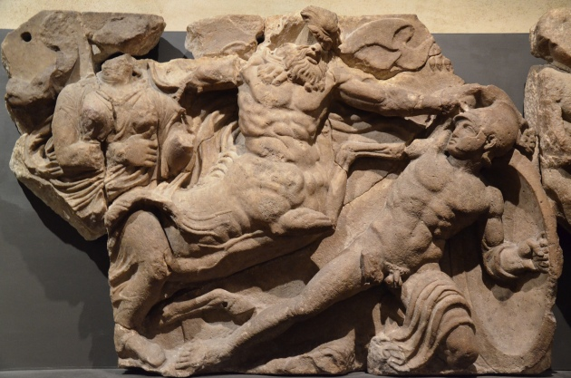 The Bassai sculptures, marble block from the frieze of the Temple of Apollo Epikourios at Bassae (Greece), Lapiths fight Centaurs, about 420-400 BC, British Museum