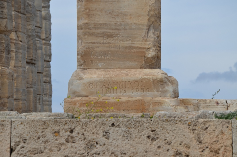 Temple of Poseidon, 19th century Graffiti on the left pillar, Cape Sounion, Greece © Carole Raddato