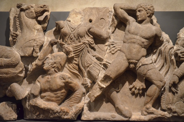 The Bassai sculptures, marble block from the frieze of the Temple of Apollo Epikourios at Bassae (Greece), Greeks fight Amazons, about 420-400 BC, British Museum