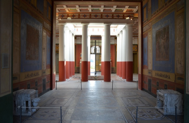 The Tablinium facing the Atrium, decorated in the 4th Pompeii style, Pompeiianum, Aschaffenburg, Germany © Carole Raddato