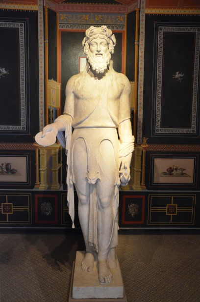 Marble statue of Bacchus, exhibited in one of the cubicula, Pompejanum, Aschaffenburg, Germany