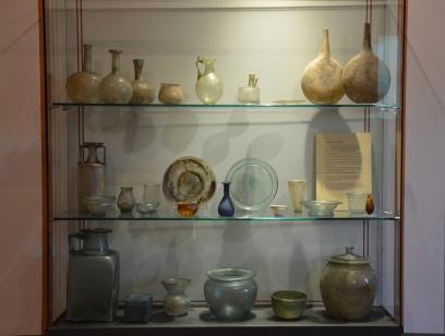 Roman glass displayed in the culina (kitchen), Pompeiianum, Aschaffenburg, Germany © Carole Raddato