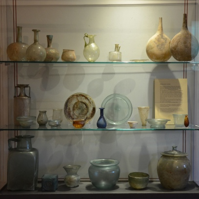 Roman glass displayed in the culina (kitchen), Pompeiianum, Aschaffenburg, Germany © Carole Raddato