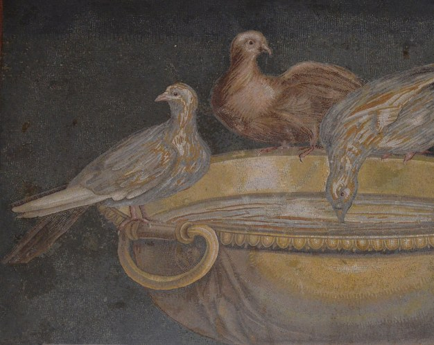 Mosaic showing doves drinking from a bowl, from Hadrian's villa, 2nd century AD, probably a copy of Sosus's work (2nd century BC), Musei Capitolini, Rome © Carole Raddato