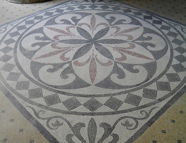 Mosaic floor inside the summer triclinium, Pompeiianum, idealized replica of a Roman villa, Aschaffenburg, Germany © Carole Raddato