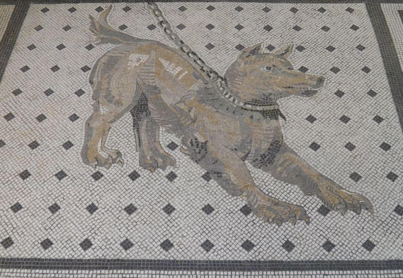 Cave canem mosaic (beware of the dog), Pompeiianum, Aschaffenburg, Germany © Carole Raddato