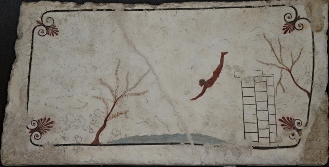 The Diver, painting from the covering slab of the Tomb of the Diver, 470 BC, Paestum Archaeological Museum