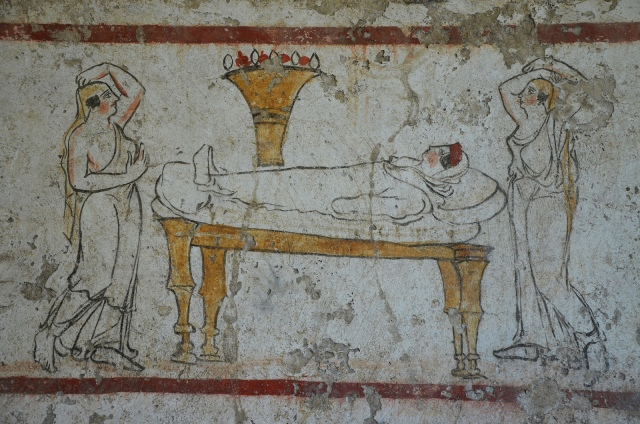 Lucanian fresco tomb painting depicting the deceased on her deathbed (prothesis), 340 BC, Paestum Archaeological Museum