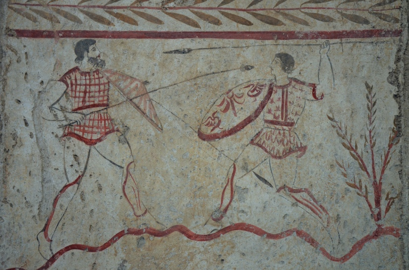 Lucanian fresco tomb painting of a two men fighting, 3rd century BC, Paestum Archaeological Museum