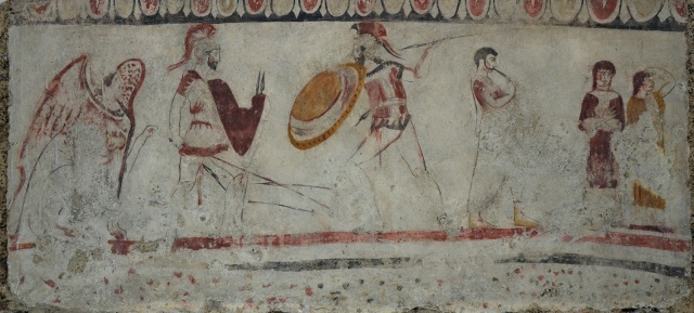 Lucanian fresco tomb painting depicting a duel judge by a sphinx, a flute player and two women weeping, 340 BC, Paestum Archaeological Museum