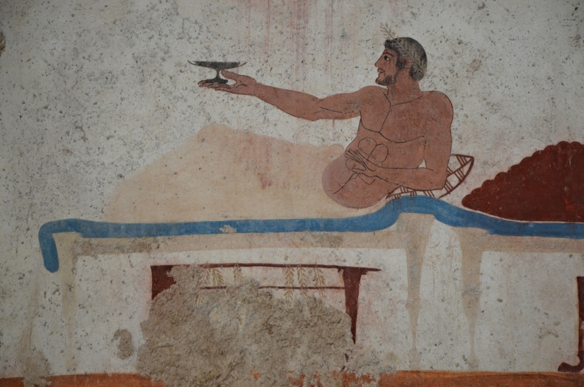 Fresco painting from lateral walls of the Tomb of the Diver depicting a symposium scene, 5th century BC, Paestum Archaeological Museum