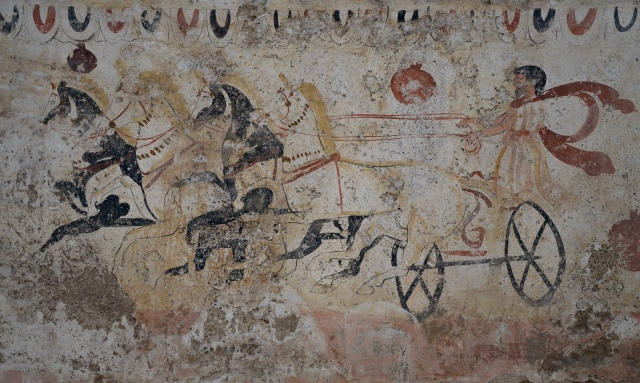 Lucanian fresco tomb painting of a chariot race, 340-330 BC, Paestum Archaeological Museum