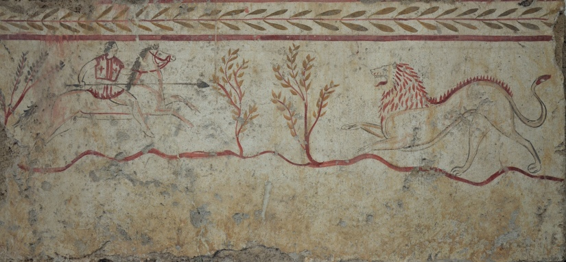 Lucanian fresco tomb painting depicting a lion hunt, 3rd Century BC, Paestum Archaeological Museum