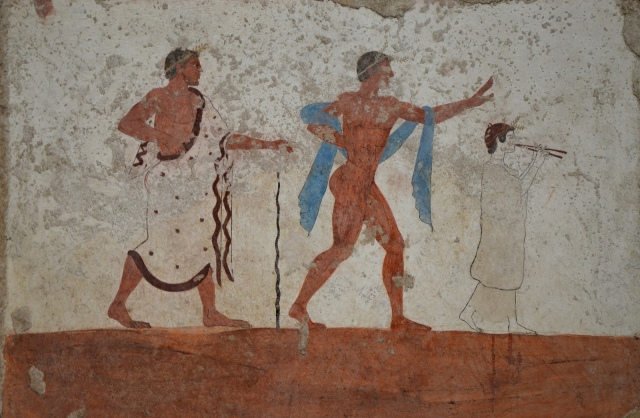 Detail of fresco from west walls of the Tomb of the Diver depicting a a cortege of guests, 5th century BC, Paestum Archaeological Museum