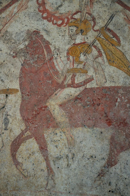 Lucanian fresco tomb painting depicting the return of the warrior, 375-370 BC, Paestum Archaeological Museum