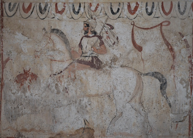 Lucanian fresco tomb painting depicting the return of the warrior, 2nd half of 4th century BC, Paestum Archaeological Museum