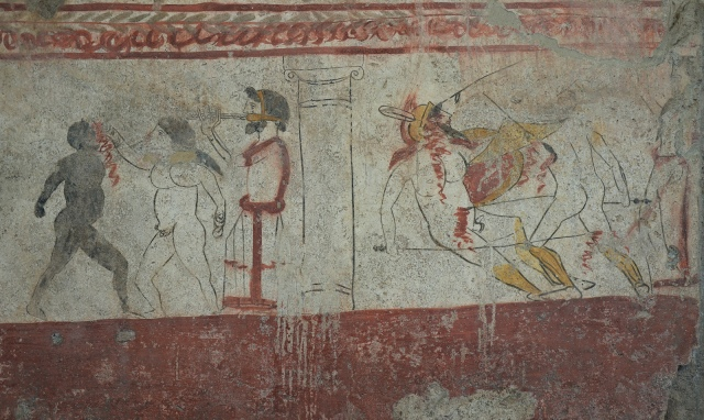 Lucanian fresco tomb painting depicting a duel and boxing contest, 3rd century BC, Paestum Archaeological Museum