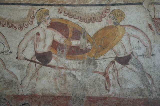 Lucanian fresco tomb painting of 2 warriors fighting, 3rd century BC, Paestum Archaeological Museum