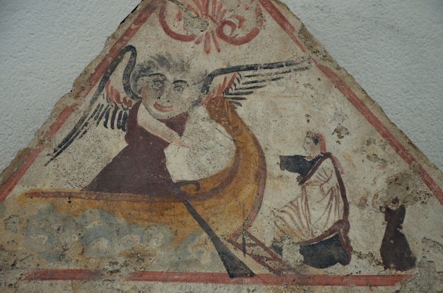 Lucanian fresco tomb painting depicting the deceased's departure for the underworld, 340 BC, Paestum Archaeological Museum