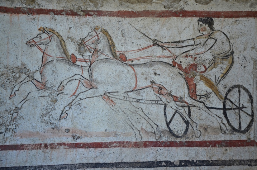 Lucanian fresco tomb painting of a man on a chariot, 350-330 BC, Paestum Archaeological Museum