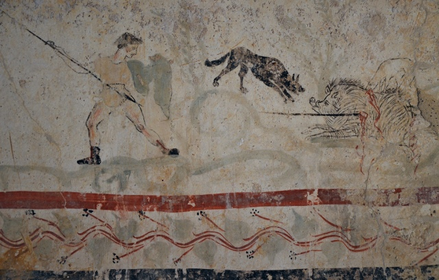 Lucanian fresco tomb painting depicting a hunting scene, 2nd half of 4th century BC, Paestum Archaeological Museum