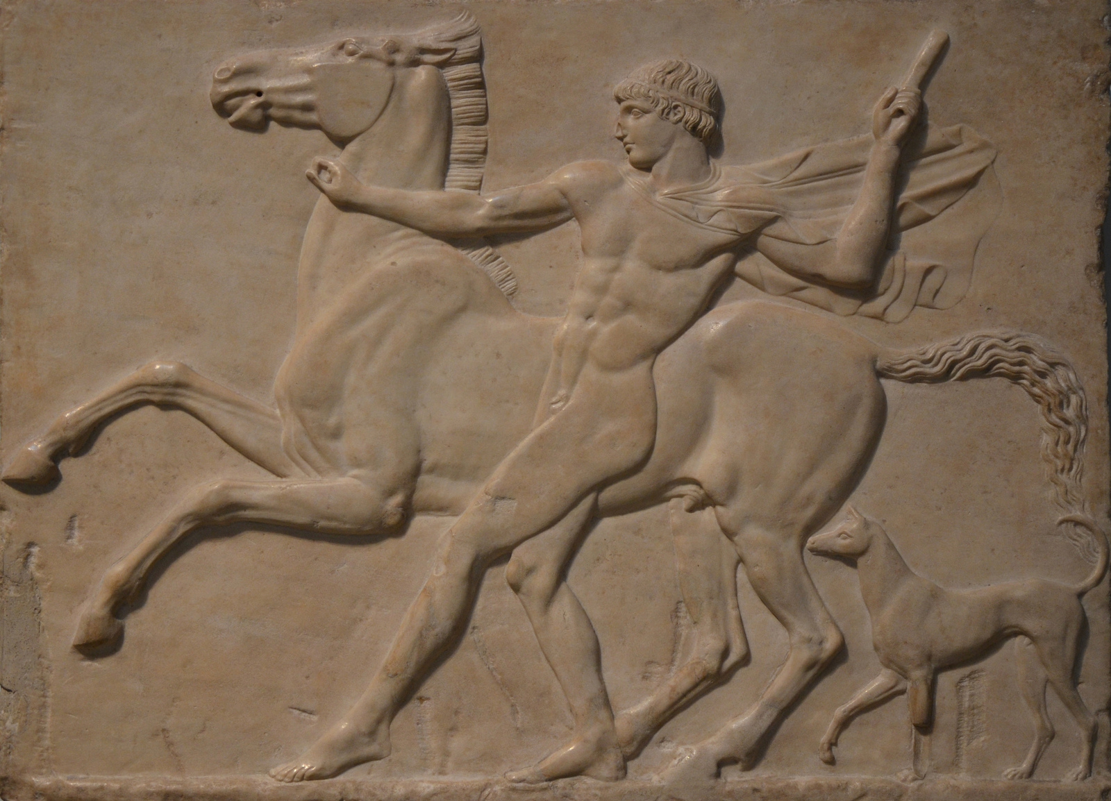 Art and sculptures from Hadrian's Villa: Marble relief depicting a youth with his horse