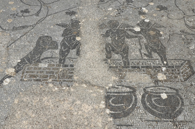 Black & white mosaic in the caldarium of the thermae depicting cupids pressing grapes, Minturnae © Carole Raddato