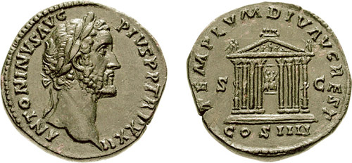 Temple of Divus Augustus on a coin of Antonius Pius issued circa AD 158