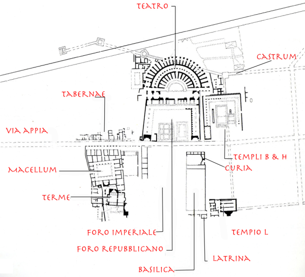 Plan of the Archaeological Area of Minturnae