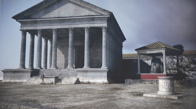 Reconstruction of the main temple and the rock of the Oracle of the so-called Sanctuary of Jupiter Anxur
