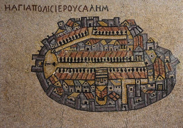 Reproduction of the 6th century AD map of Aelia Capitolina (Jerusalem)