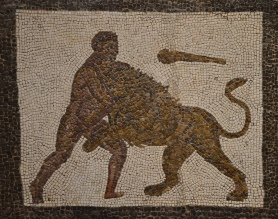 Detail of the Mosaic with the Labors of Hercules (First Labour: Nemean lion), 3rd century AD, found in Llíria (Valencia), National Archaeological Museum of Spain, Madrid