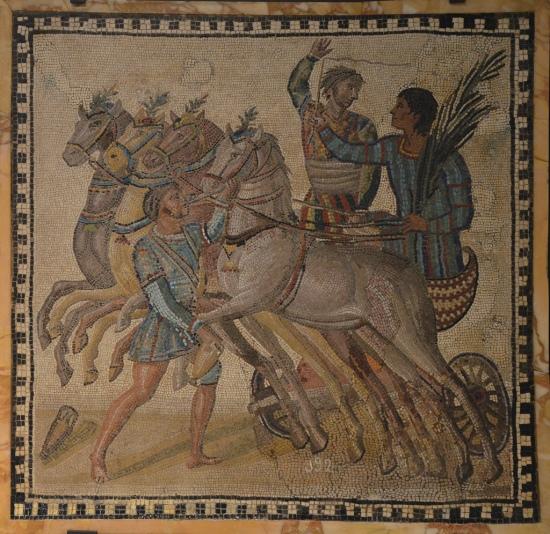 Mosaic depicting a quadriga of the factio veneta (the blues), 3rd century AD, from Rome National Archaeological Museum of Spain, Madrid © Carole Raddato