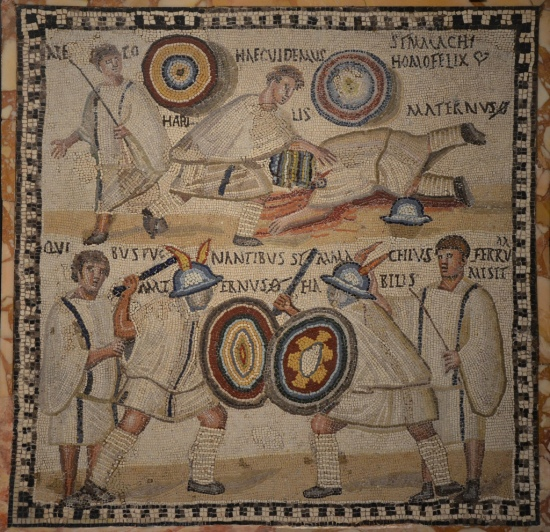 Mosaic depicting the fight between two murmillo gladiators named Simmachius and Maternus, 3rd century AD National Archaeological Museum of Spain, Madrid © Carole Raddato