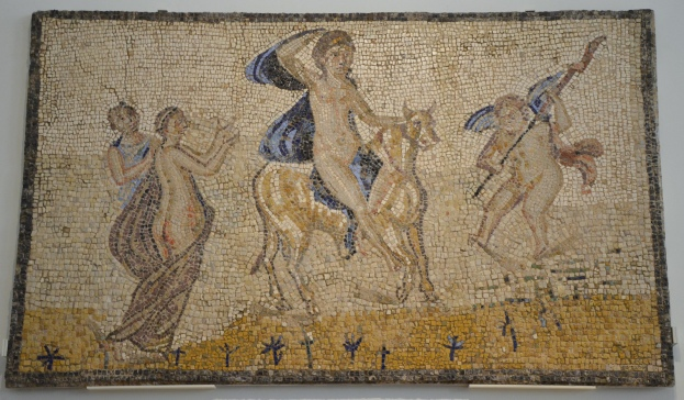 Mosaic depicting the abduction of Europa by Jupiter, 3rd century AD, found in Fernán Núñez (Córdoba) National Archaeological Museum of Spain, Madrid © Carole Raddato