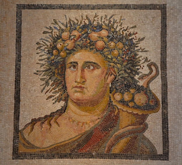 Mosaic with Genius of the Year, late 2nd century AD, found in Aranjuez National Archaeological Museum of Spain, Madrid © Carole Raddato