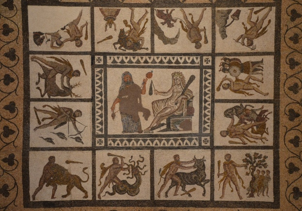 Detail of the mosaic with the Labors of Hercules, 3rd century AD, found in Liria (Valencia), National Archaeological Museum of Spain, Madrid © Carole Raddato