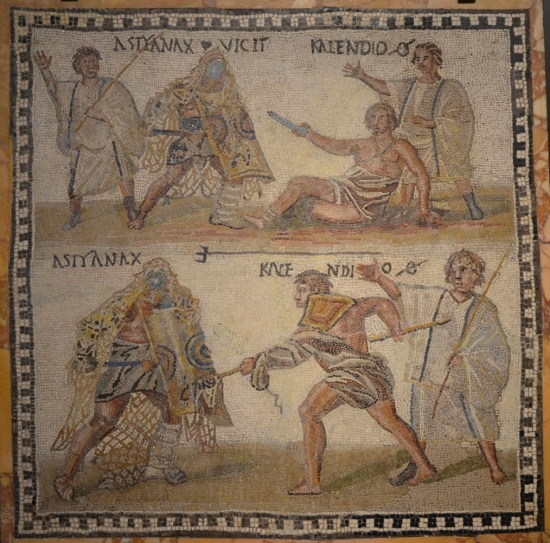 Mosaic showing a retiarius (net-fighter) named Kalendio fighting a secutor named Astyanax, 3rd century AD National Archaeological Museum of Spain, Madrid © Carole Raddato