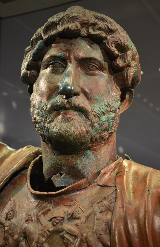 Bronze statue of Hadrian, found at the Camp of the Sixth Roman Legion in Tel Shalem, detail of the head, Israel Museum, Jerusalem © Carole Raddato