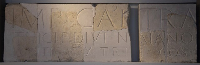 Monumental inscription from a triumphal arch dedicated to Hadrian, discovered near the camp of the Sixth Legion at Tel Shalem, Israel Museum, Jerusalem © Carole Raddato