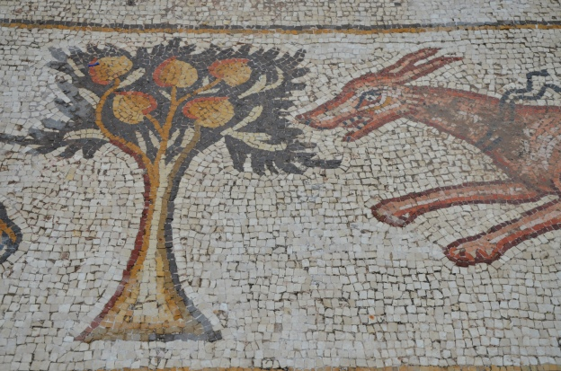 A dog and pomegranate tree, detail from the 6th century AD Bird Mosaic, Israel © Carole Raddato