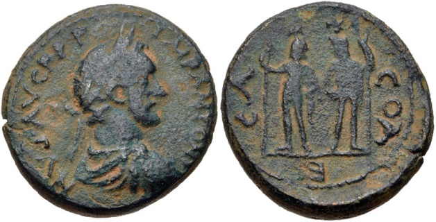 Antoninus Pius. AD 138-161. Laureate, draped, and cuirassed bust right / The Dioscuri standing facing, each holding spear.