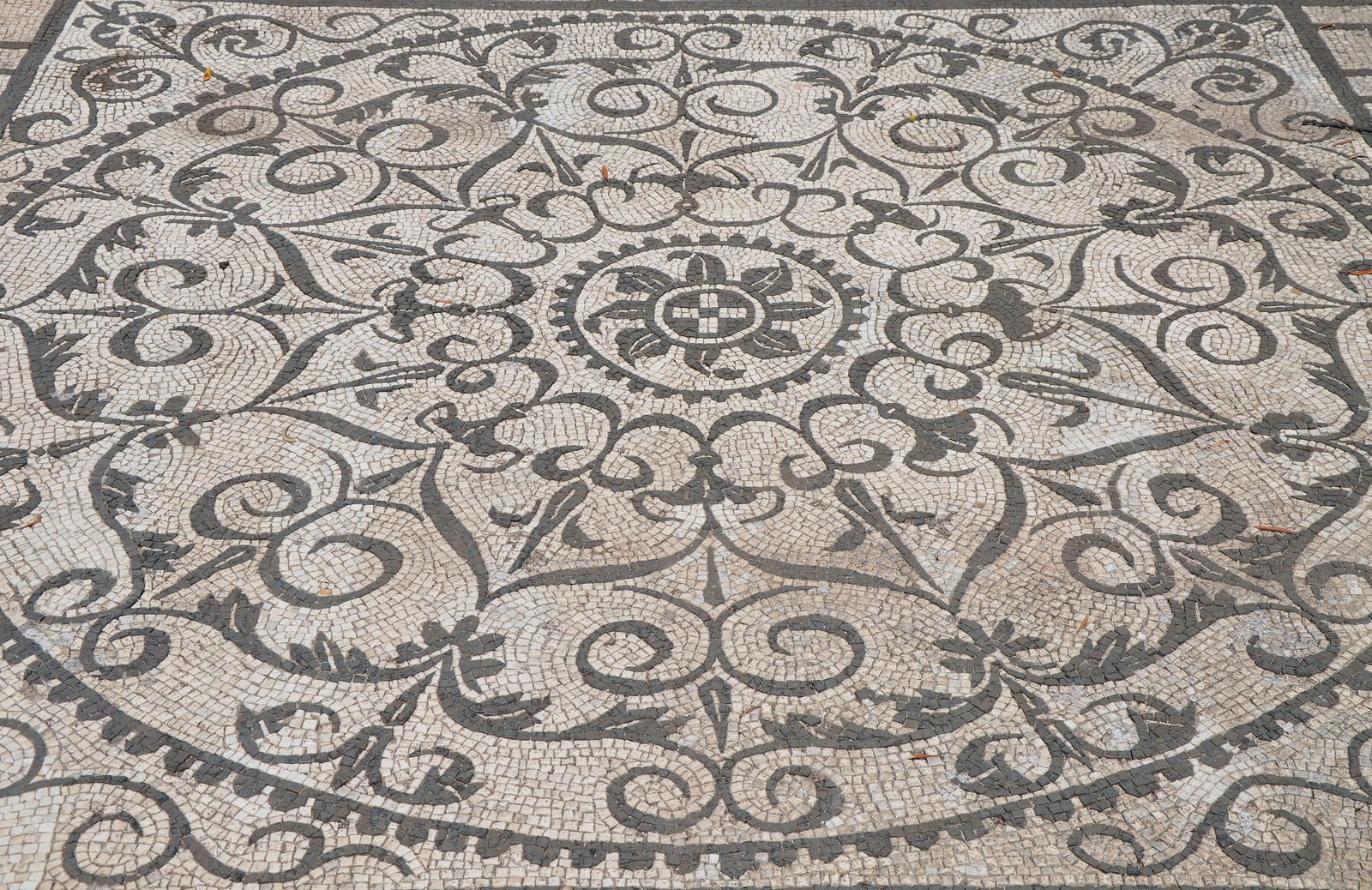 Art and sculptures from Hadrian's Villa: Black-and-white mosaics with geometric and floral motifs