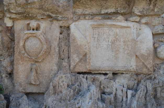 Inscription from the High Level Aqueduct of Caesarea at Beit Hananya, with emblem depicting the 10th legion, Israel © Carole Raddato