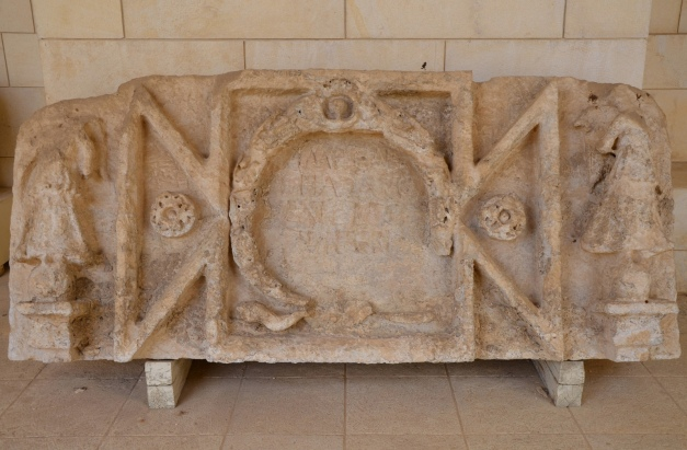 Inscription discovered in Shuni from the high-level aqueduct of Caesarea, Rockefeller Museum, Jerusalem © Carole Raddato