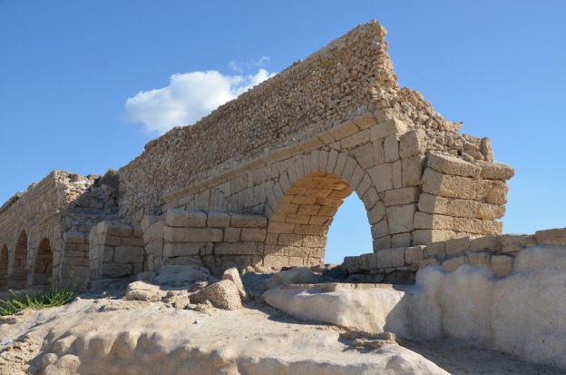 A portion of the high level aqueduct of Caesarea showing the two stages of construction are visible, Caesarea Maritima © Carole Raddato